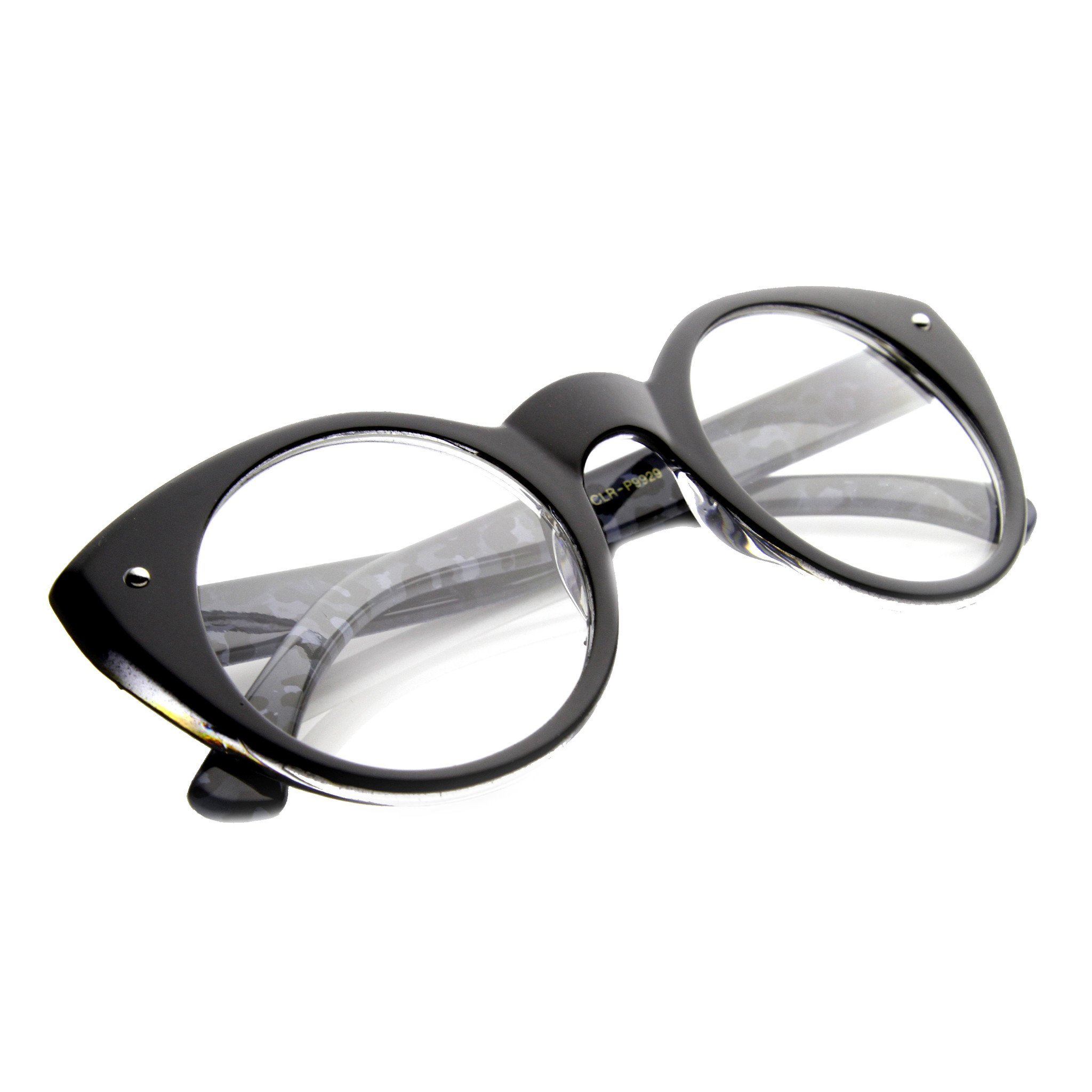 f92bf7fde56c Cute Retro Animal Print Round Cat Eye Clear Lens Glasses 9647.  9.99 from  zeroUV