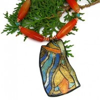 Klimt Inspired Necklace, Carnelian Orange Turquoise Handmade Jewelry