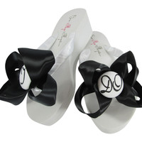 Black Satin Bow I DO Wedding Flat Flip Flop Sandals