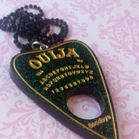 Ouija Planchette Necklace / Green and Gold / Gothic Jewelry / Spirit Board / Paranormal Jewelry / Creepy Necklace / Horror Jewelry