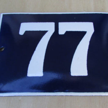 Vintage French House Number, Door Number 77, Preservede French Blue Enameled Sign Number 77, Street Sign Number 77, Blue Enamel Metal Plate