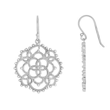 Silver with Rhodium Finish 40x27mm Shiny+Textured  Small Beads On Loop Pattern Large Circle Fancy Dro p Earring with Euro Wire Clasp
