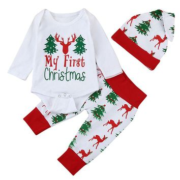 3PCS Baby Rompers Sets My First Christmas Printing Tops Rompers And Deer Tree Pants Caps Lovely Christmas Xmas Clothing Sets