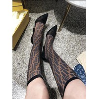 FENDI Classic Stylish Women FF Letter Mesh Pointed High Heels High Tube Boots Shoes Black/Coffee I13724-1