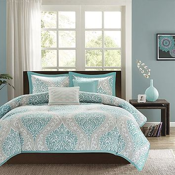 Twin / Twin XL Comforter Set in Light Blue White Grey Damask Pattern