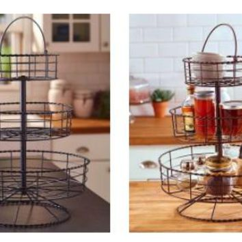 3 Tier Farmhouse Basket Iron Black or Bronze Counter top Storage Country