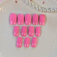 24pcs High Quality Charming Shine Hot Pink Fake Nail Design Nail Art False Tips Full Cover False Nails Z222