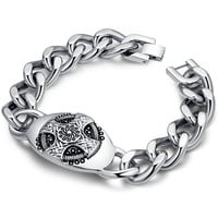 Stainless Steel Celtic Cross Curb Chain Link Bracelet