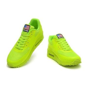 DCCKIN2 Men s Women s Nike Air Max 90 American Flag Shoes Fluorescent Green