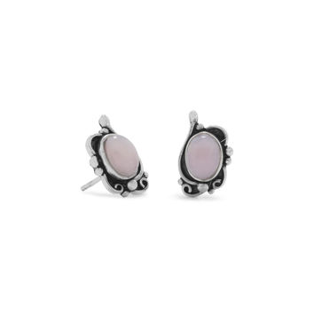 Sterling Silver Antiqued Finish Pink Peruvian Opal Stud Earrings
