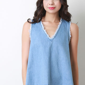 Open Back Frayed Hem Tank Top