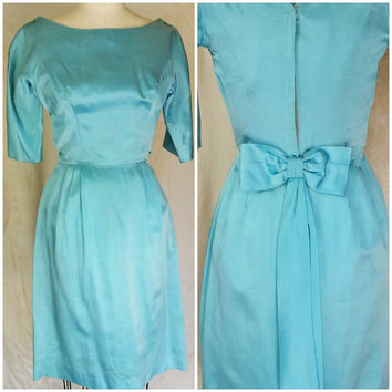 Vintage 1950s Wiggle Dress / Sky Blue Satin Dress / Satin Wiggle Cocktail Dress / Dress With Bow .