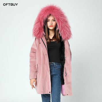 OFTBUY 2017 new winter jacket coat women parka fur coat Corduroy real raccoon fur collar  warm thick lamm fur wool liner parkas