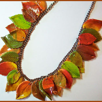 Autumn Leaves Polymer Clay Necklace 18 in. Fall colors on Copper Chain and Toggle Clasp