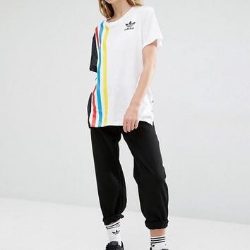adidas Originals Primary Three Stripe Oversized T-Shirt With Mesh Insert at asos.com