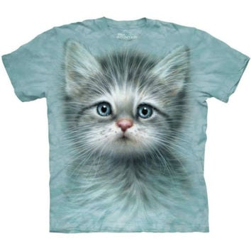 The Mountain BLUE EYED KITTEN Adorable Cute Big Face Cat T-Shirt S-5XL NEW