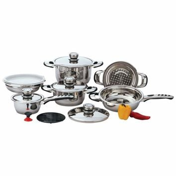 Chef's Secret 12pc 9-Ply Heavy-Gauge Stainless Steel Cookware Set-KT12