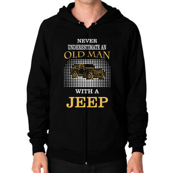 Old man with jeep Zip Hoodie (on man)