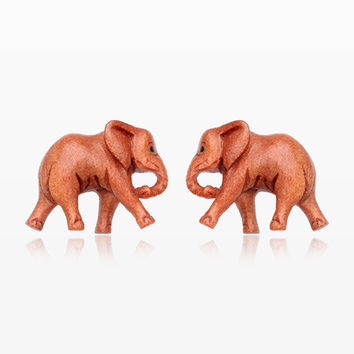 A Pair of The African Elephant Handcarved Earring Stud