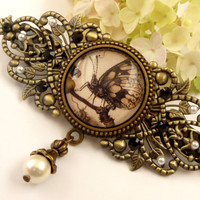 Large Barrette in bronze with butterfly motif, insect hair clip