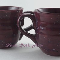 Large Ceramic Mugs Plum Purple Set of 2 on Handmade Artists' Shop