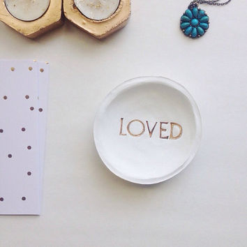 Jewelry Dish/LOVED/White and Gold