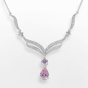 Sunstone 925 Sterling Silver Y Necklace - Made with Swarovski Cubic Zirconia (Pink)