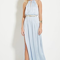 Satin High-Slit Maxi Dress