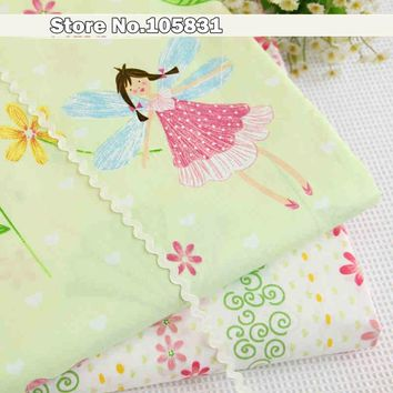 Cotton Fabric Cartoon Fairy Pattern Children Bedding Home Textiles Quilting Sewing Patchwork Cloths DIY Craft Material 39''x62''