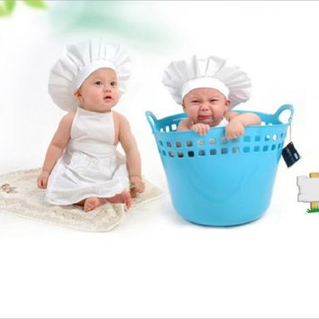 Newborn Unisex Baby Chef Hat Photography Props Clothes Toddler Baby Boy Girl Photo Shoot Props fotografia Accessories Set Outfit