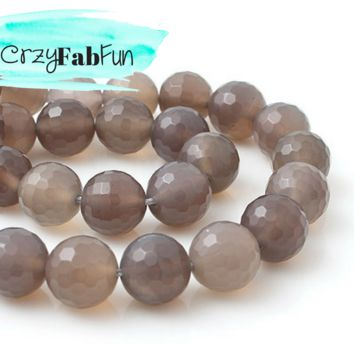 8mm Round Faceted Gray Agate Beads