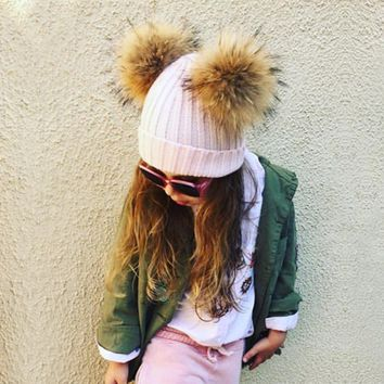 Doublue Real Raccoon Fur Pompons Baby Hat Kid's Winter Thick Warm Beanies Knitted Crochet Lovely Bonnet For Boys Girl 2017 Cap