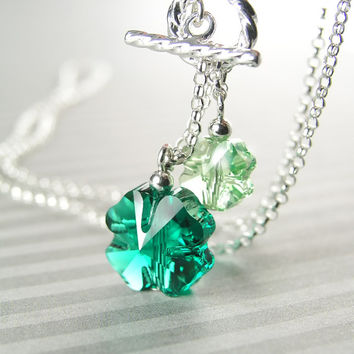 Emerald Green Shamrock Necklace Sterling Silver Four Leaf Clover Necklace Swarovski Crystal Irish Green Clover Charm Necklace