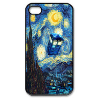Tardis Doctor Who starry night iphone 4 4s black / white case cover