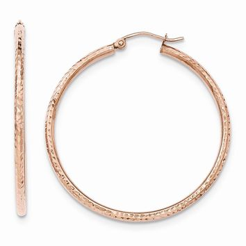 14K Rose Gold Polished Light Weight Large D/C Tube Hoop Earrings