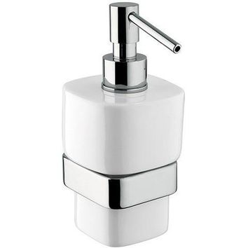BA Modulo Wall Mounted Ceramic Pump Soap Lotion Dispenser Bath or Kitchen, Brass