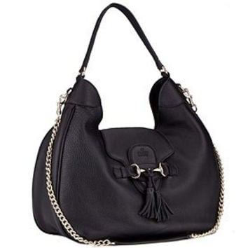 Gucci Emily Black Leather Hobo