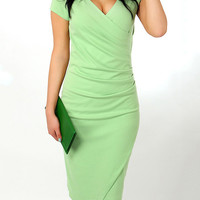 V-Neck Short Sleeve Ruched Wrap Bodycon Midi Dress