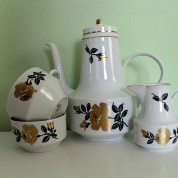 Vintage Henneberg Porzellan German Democratic Republic Tea Set 1777, Porcelain Tea Set Made In GDR, Floral design