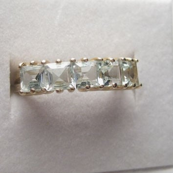 Vintage 14kt Yellow Gold Pale Aquamarine Square Stone Ring, size 6.5