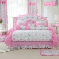 FADFAY Home Textile,New Romantic Pink Rose Print Bedding Set,Beautiful Korean Princess Girls Ruffle Bedding Set