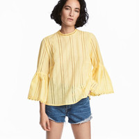 Hole-embroidered Cotton Blouse - from H&M