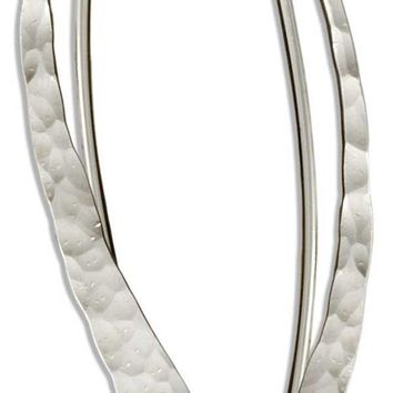 Sterling Silver Small Hammered Curve Drop Earrings