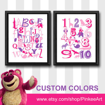 pink purple abc girls room decor animal alphabet print nursery numbers and letters ABC poster with animals ABC numbers art girl wall art