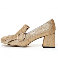 Jeffrey Campbell 'Bernice', gold glitter, heeled loafer