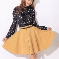 Women Simplicity Casual Yellow Uneven Elastic Waist  All-Matching Flannel  Dress With Belt S/M@MF9856y