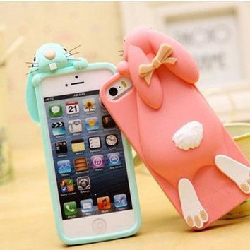 3d Cartoon Bunny Back Cover Case For Iphone 4g/4g/5g/5s/6 4.7 Inch Rabbit Silicon Gel Phone Case With Brand Logo