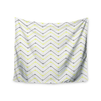 "CarolLynn Tice ""Witty"" Yellow Gray Wall Tapestry"