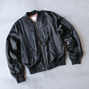 Padded Satin Bomber Jacket   Black