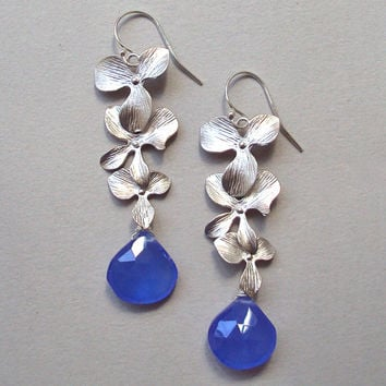 Long Silver Flower earrings with Cobalt Blue Chalcedony and sterling silver ear wires